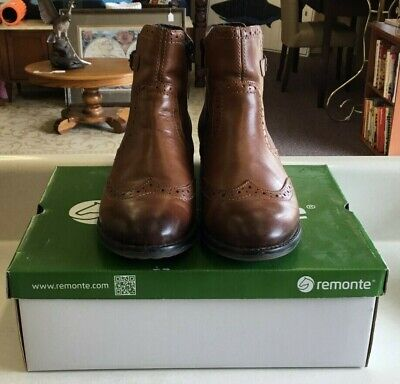 37c3a85be REMONTE BY RIEKER Boots Alexandra D4379 Lace Up Zip Leather Brown ...
