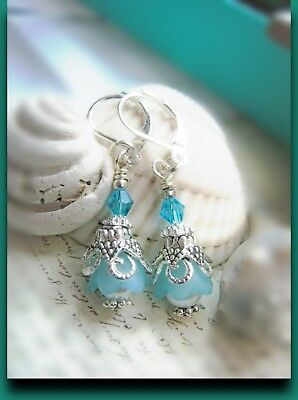 Bell Flower Earrings Small Tulip TEA PARTY Turquoise blue Lucite leverback