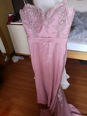 Debs dress dress new/size 10 formal dress with lacy trail  colour light pink
