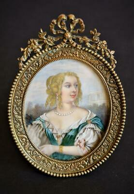 FINE ANTIQUE Early 19thC FRENCH PORTRAIT MINIATURE PAINTING of a YOUNG LADY
