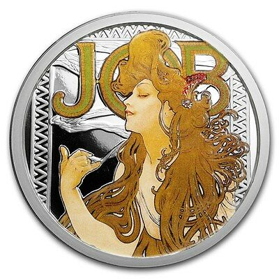 Alphonse Mucha Job Cannabis Pot Colorized 1 Oz Silver Coin #1 In Series #Coa