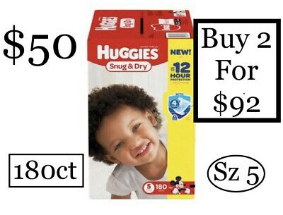Huggies Snug & Dry, (180 Ct) (27+ Lbs), (Size-5) Baby Diapers Mickey Mouse Print