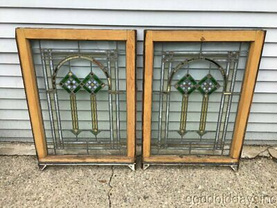 "Pair of  Antique 1920's Chicago Bungalow Stained Leaded Glass Window 34"" x 24"""