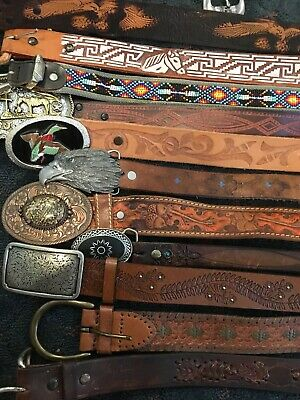 Large LOT OF 30 Vintage HAND TOOLED LEATHER Beaded WESTERN Rodeo BELTS Braided
