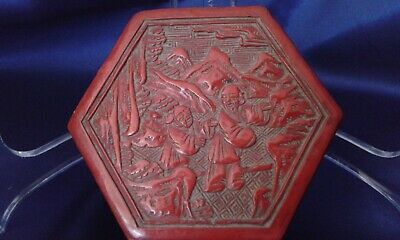 Antique 19th Cent. Chinese Cinnabar Lacquer Box Handcarved  Figures Qing