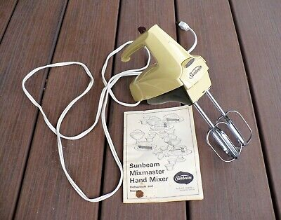 1974 Sunbeam Mixmaster hand mixer, beaters, box, owner's manual; one family!
