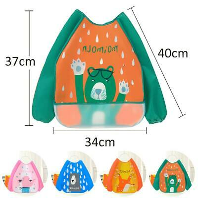 Long Sleeve Kids Baby Bibs Bib Apron Waterproof Art Smock Feeding Toddler