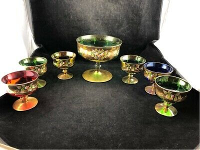 Antique Victorian Sorbet/Ice Cream 7 Piece Set Heavy Gold Painted Floral