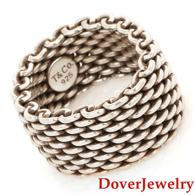 Tiffany & Co. Sterling Silver Mesh Woven Eternity Band Ring 8.9 Grams NR