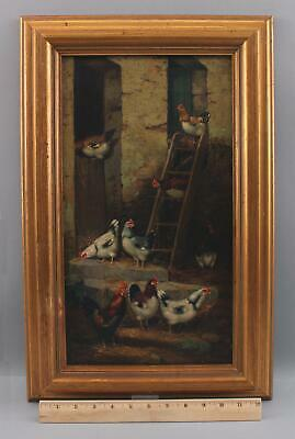 Antique 19thC Country Interior Barn Farm Chickens & Roosters Oil Painting NR