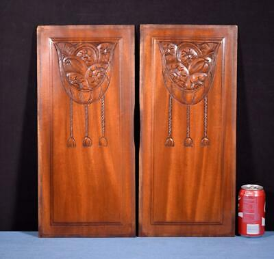 *Pair of French Art Deco Hand Carved Panels in Mahogany Wood Salvage