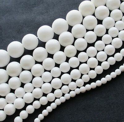 1Strand White Jade Loose Natural Gemstone Gem Stone Spacer Beads From 4MM to14MM