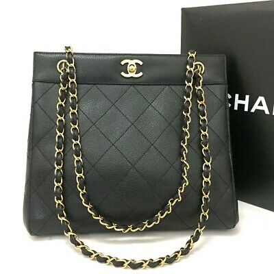 006ae945cde1 CHANEL Quilted Matelasse CC Logo Caviar Skin Chain Shoulder Bag Black /ee940