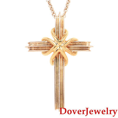Tiffany & Co. Sterling Silver 18K Gold Cross Pendant Chain Necklace 6.0 Grams NR
