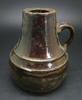Rare Ancient Greek Pottery Jug with Brown Glaze
