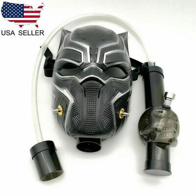 US Silicone Gas Mask Bong Black Panther Smoking Water Pipes With Flexible Pipe