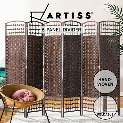 Artiss 6 Panel Room Divider Screen Privacy Dividers Rattan Timber Stand Woven