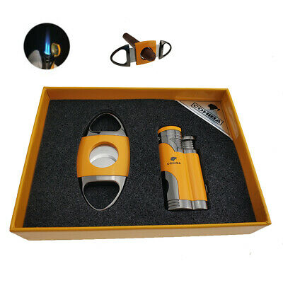 Windproof Metal 2 Torch Jet Flame Cigar Cutter and Lighter Set with cigar punch