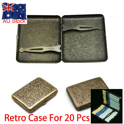 Bronze Portable 20 Pcs With Gift Box Vintage Cigarette S Case Metal Steel Holder