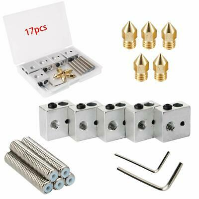 Extruder Throat Tube Heating Blocks Hotend 17x for Makerbot Anet MK8 3D Printer