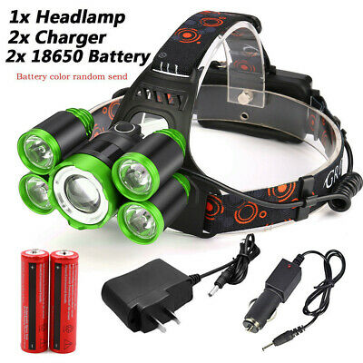 New Zoomable 5x XM-L T6 Rechargeable Headlamp 18650 LED HeadLight Torch Kits AU