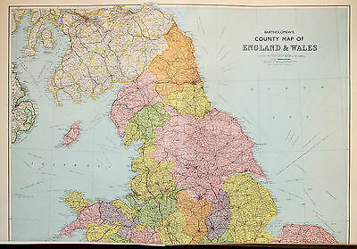 Northern England & Wales - Huge 85 x 60 cm Vintage 1930s Bartholomew Map *** WOW