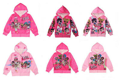 7f9eabf05 New Cute Girls Lol Surprise doll Hoodies Zipper Cartoon Hoodies Sweatshirt  3-8Y