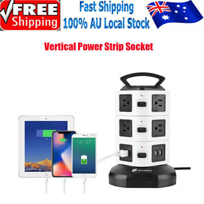 10/14Ways Surge Protector Power Board Outlets Socket 3Level vertical socket 4Usb