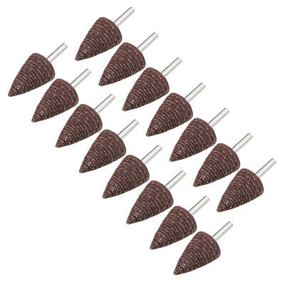 30mm Cone Shape Abrasive Flap Wheel 1/8-Inch Shank for Deburring 320 Grit 15 Pcs