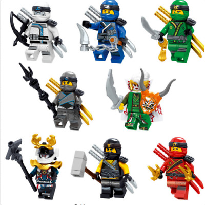 SET NINJAGO FIGURE NINJA Heroes Red Kai Jay Mask Aberdeen Weapon Lego Toy Custom