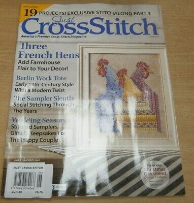 Just Cross Stitch magazine Jun 2019 3 French Hens, Berlin Work Tote, Weddings