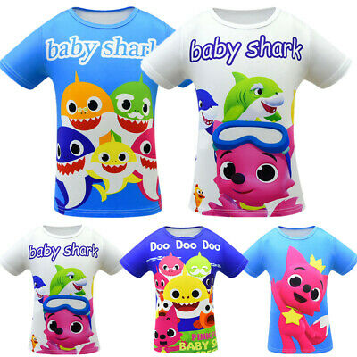 Baby Shark Doo Doo Kids Boys Girls T Shirt Tops Short Sleeve Tee Shirt Clothes