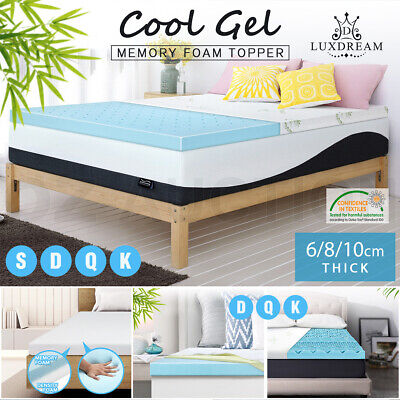 Cool Gel Memory Foam Mattress Topper Bedding Mat Protector 8/10CM All Size