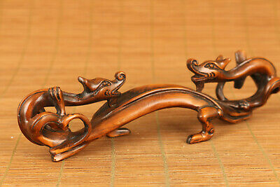 chinese old boxwood hand carved rare copy antique dragon stand pen