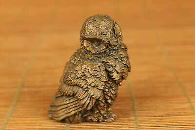 chnese old brass hand casting owl statue figure collectable