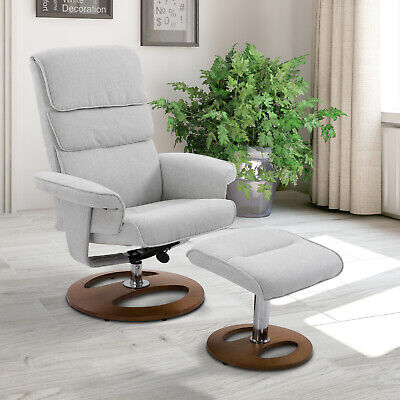 Recliner Chair Ottoman Set 360° Swivel Sofa Thick Padding Wood Base Grey