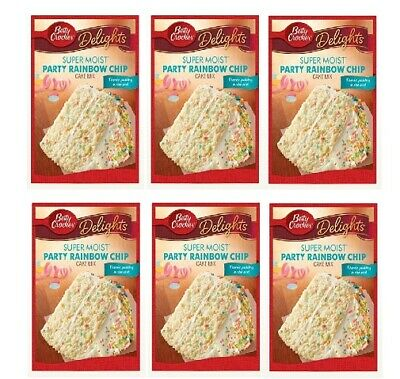 Betty Crocker Delights Super Moist Party Rainbow Chip Cake Mix 6 Pack