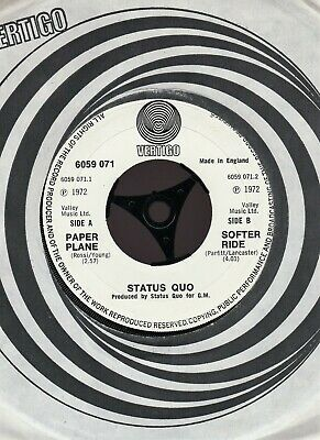Status Quo ~ Paper Plane / Softer Ride ~ 1972 Uk Vertigo Swirl ~ Nm