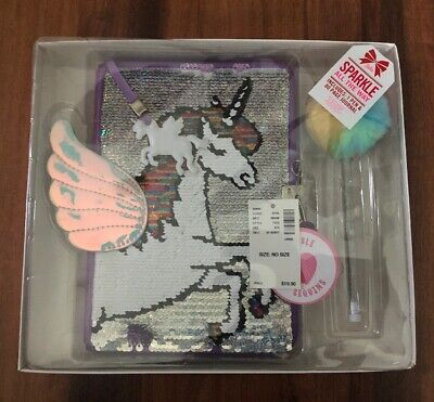 NWT Justice Girl's Unicorn Flip Sequin Journal Set Journal diary In Gift Box