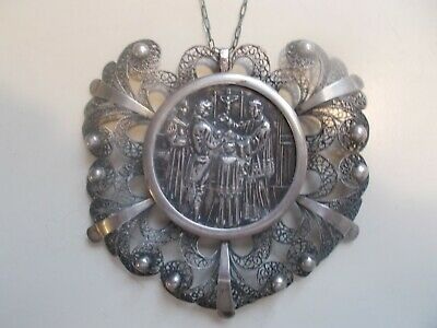 1800's Sterling Silver Filigree German Antique Rosary Pendant Christian Engraved
