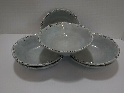 Tommy Bahama 100% Melamine Set of 6 Rustic Gray Crackle Salad Cereal Bowls New