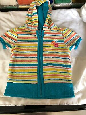 M&CO Girls Blue Stripe Towelling Short Sleeve Zip Summer Holiday Hoody Age 2-3