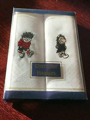 DENNIS THE MENACE and GNASHER - MENS HANDKERCHIEFS - CHARACTER HANKIES - NEW