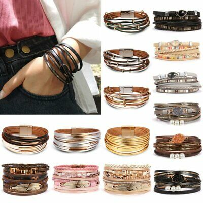 Women Multi-layer Leather Cuff Magnetic Clasp Bracelet Bangle Wristband Jewelry