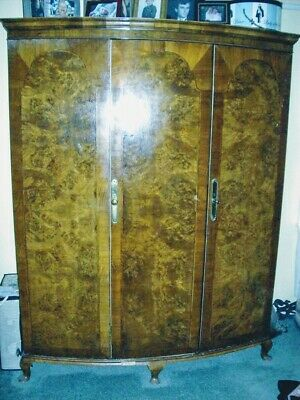 Antique 3-Piece Armoire Inlaid Wood
