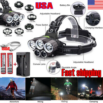 250000LM 5XT6 LED Headlamp Rechargeable Head Light Flashlight Torch Lamp 18650 ,
