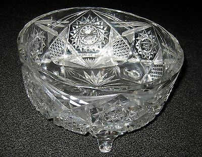 ABP Brilliant Cut Glass Crystal Footed Fern Bowl Signed Corning J Hoare Co
