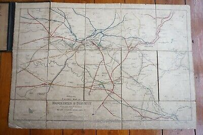 1918 Railway Clearing House Railway Map of Manchester Linen Backed & Bound RCH