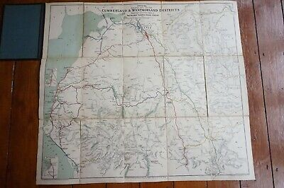 1912 Railway Clearing House Railway Map Cumberland & Westmorland Linen Backed