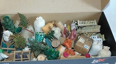 large lot  of  dollhouse /farm/stable  antique  toys  accessories see